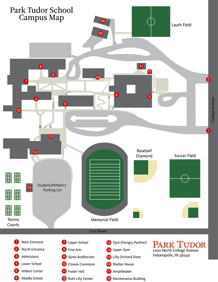 Park Tudor Campus Map